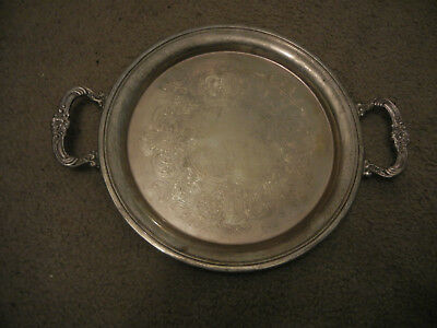 """Vintage Sheridan Silver Plate On Copper 12"""" Serving Tray With Handles"""