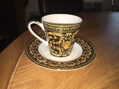 Versace Medusa pattern, Cup And Saucer, Black And Gold