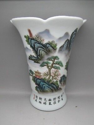 Vintage Chinese Vase Scenic Hand Painted Calligraphy Wall Pocket Porcelain