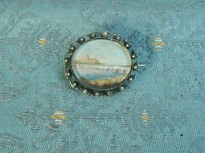 Old Antique Silver Filigree Moghul Miniature Painting Brooch 19th Century Indian