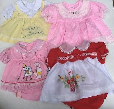Lot Of Vintage Baby Girl Dresses Sheer Floral Embroidery Lace Ruffles