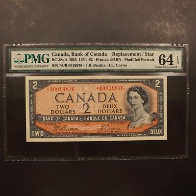 Canada 2 Dollars 1954 BC-38aA REPLACEMENT Banknote PMG 64 EPQ - Choice Unc