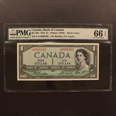 Canada Dollar 1954 BC-29b Devil's Face Banknote PMG 66 EPQ - Gem Uncirculated