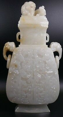 Fine Old Chinese Jade Covered Vase Archaistic Carving Sculpture #63