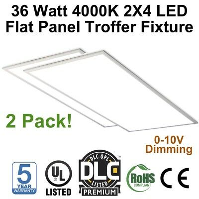 36 Watt 2X4 2 Pack LED Flat Panel Troffer Light Fixture 4000K- DLC Premium