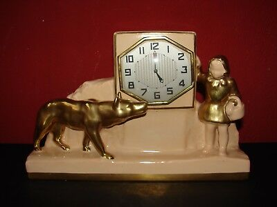 Vintage French Ceramic Little Red Riding Hood Mantle Clock