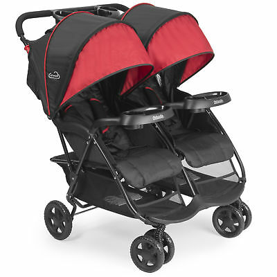 Kolcraft Cloud Plus Lightweight Double Stroller with Extra Storage, Red/Black