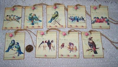 Vintage~French Bird~Shabby Chic~Linen Cardstock~Gift~Hang~Tags