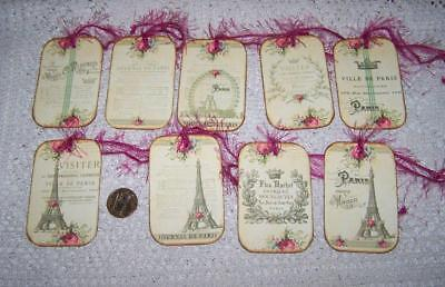 Vintage~Paris~French~Shabby Chic~Eiffel Tower~Linen Cardstock~Gift~Hang~Tags