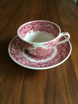 Vintage Mason's Ironstone Vista Pink Oversized Cup and Saucer