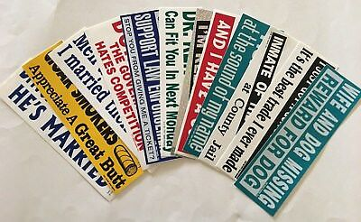 Humorous Bumper Stickers, Set of 12