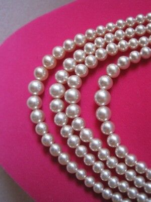 1940's PINKISH FAUX PEARL BEADS 4 Strand Vintage Collar Necklace Beautiful
