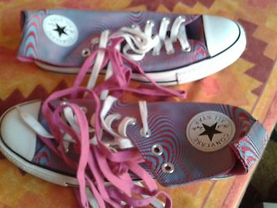 CONVERSE Trainers : 9 : BNIB : Raspberry/Blue Psychedelic Pattern : Spare Laces