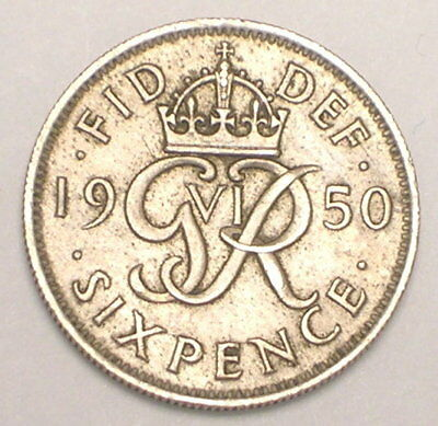 1950 UK Great Britain British Six 6 Pence Monogram Coin VF+