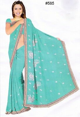 Saree 585 Turquoise Georgette Party Wear Shieno Sarees