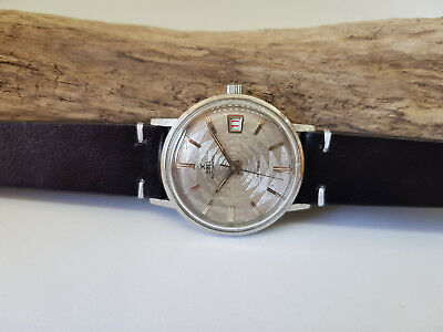 Very Rare 1960's Ebel Unusual Grey Dial Date Automatic Man's Watch