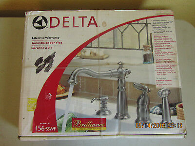 Delta Victorian Stainless Steel Kitchen Faucet w/Side Spray & Soap Disp 156-SSWF