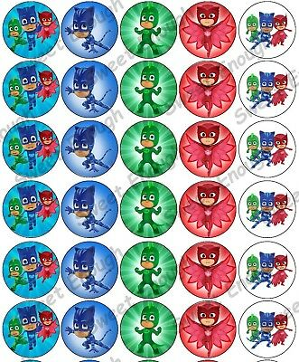 30 Pj Masks Edible Rice Wafer Card Cupcake topper Fairy cake Birthday Party