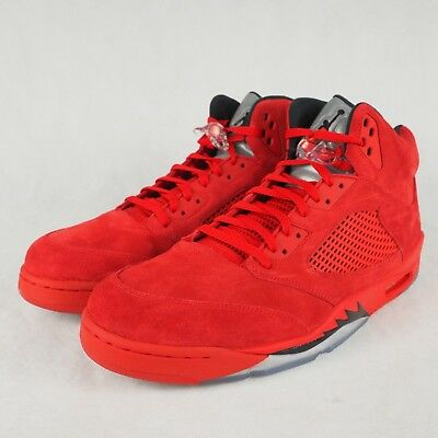 outlet store 0160a f9924 Nike Men s Air Jordan 5 Retro Red Suede University Red Black Size 18  136027-602