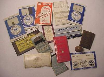 14 Antique Needle Packets-Brass Thimble-England, Germany -1900's And 1940's
