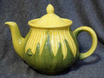 Vintage Shawnee Pottery USA Corn King Teapot #75 w/Lid Yellow & Green