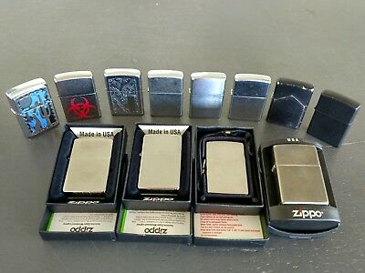 Lot Of 12 Zippo New & Used Lighters, Various Years Styles Good Working Condition