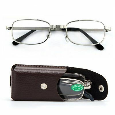 Portable Folding Reading Glasses Rotation Presbyopic Eyeglass With Leather Case