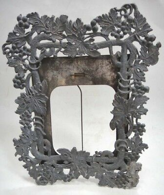"""1800s antique Victorian METAL PICTURE FRAME w Ornate Grapes standing 8""""x7"""""""