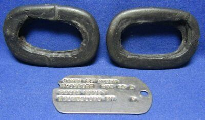 WWII Army Dog Tag With NC NOK Address T41 42 & Gas Mask Silencers Lot Of 3