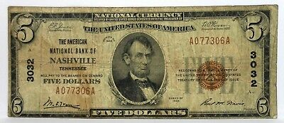 1929 $5 Dollar Nashville Tennessee The American National Bank Charter# 3032