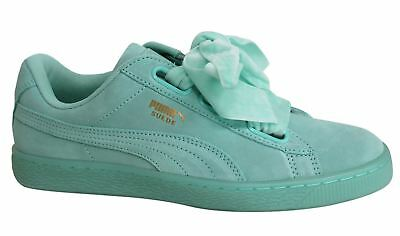 3563a066866 Puma Suede Heart Reset Lace Up Aruba Blue Leather Womens Trainers 363229 01  D83