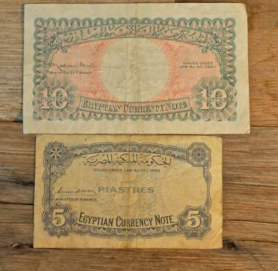 (2) 1940 Egyptian Currency Notes, 5 Piastres and 10 Piastres