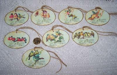 Vintage~Shabby Chic~French Bird~Label~Oval~Linen Cardstock~Gift~Hang~Tags