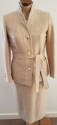 Vintage 60s ARNEL Melbourne BOOTHCREST Wool BEIGE Office SKIRT JACKET Set size 8