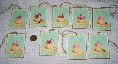 Vintage~Cupcake~French Patisserie~Shabby Chic~Linen Cardstock~Gift~Hang~Tags