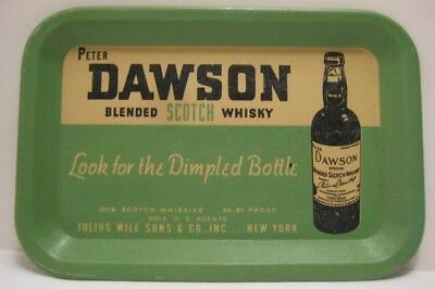 """Handsome Antique Tin Litho Tip Tray 6"""" Peter DAWSON Scotch Whisky 1930s Nice!"""