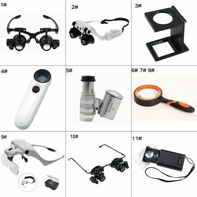 8x 10x 15x 30x 40x 60x LED Watch Jeweler Magnifier Glass Handheld headband Loupe