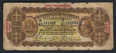 Australia 1933 Riddle/Sheehan George V Ten Shillings/Half Sovereign Banknote R8b