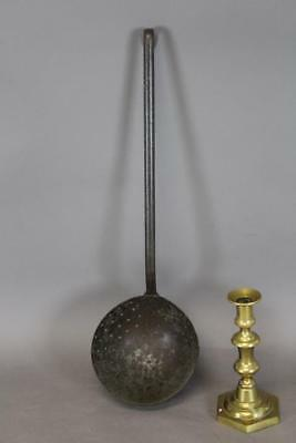 Rare 18Th C Deep Pan Wrought Iron Strainer In Great Old Surface And Patina