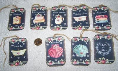 Vintage~French~Bath~Salle De Bain~Shabby Chic~Linen Cardstock~Gift~Hang~Tags
