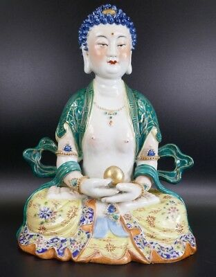 Fine Old Chinese Signed 20th Porcelain Buddha on Lotus Hotei Famille Rose #2