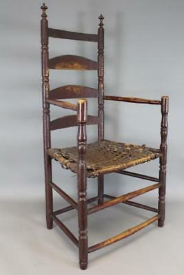 Very Rare Late 17Th C Pilgrim Period Ct Ladderback Armchair In Old Red Paint