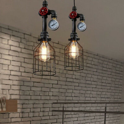 Industrial Vintage Cage Wire Lamp Bulb Steampunk Pipe Pendant Light Ceiling US