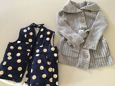 Girls Winter Vest & Longline Wool Cardigan, Seed & Country Road