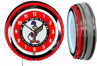 """Plymouth Road Runner 18"""" Red Neon Clock Chrome Finish"""