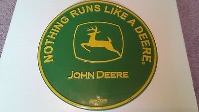 "John Deere Green/yellow ""Nothing Runs Like A Deere"" 12"" Round Metal Sign.Nice!!!"