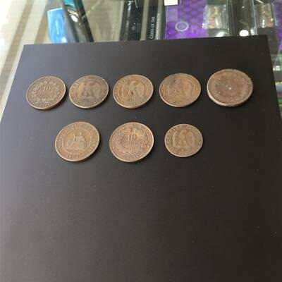 8x Early French Coins incl. Rare French Cochin China 1 Cent 1884A
