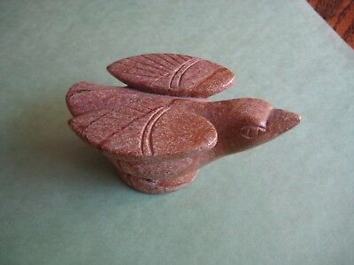 Hand Carved NATURAL STONE BIRD with wings that look like Star Ship Enterprise