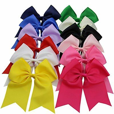 Qtgirl 12 Pcs Large Jumbo Cheer Hair Bows With Alligator Hair Clips for Girls