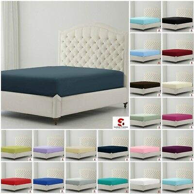 T180 Plain Dyed Cotton Rich Percale Fitted Sheet Single Double King Super King